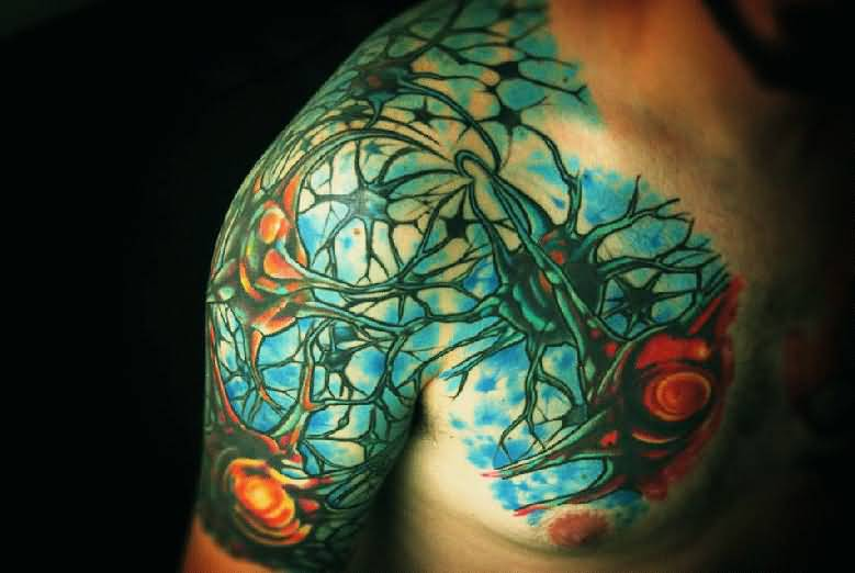 Men Half Sleeve And Chest Nice Science Neuron Tattoo