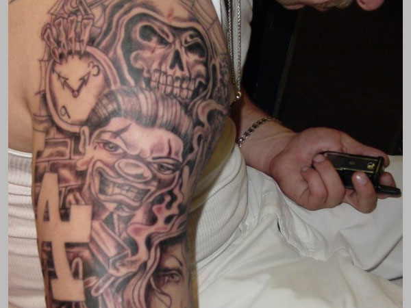 Men Half Sleeve Clock With Skull Gangsta Face Tattoo