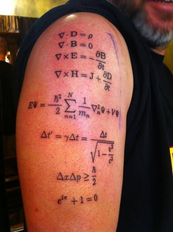 Men Half Sleeve Cover Up With Famous Maxwell Physics Equation Tattoo