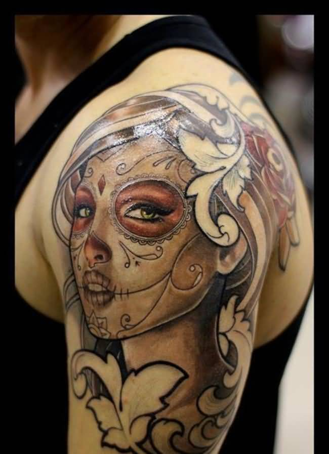 Men Half Sleeve Nice And Amazing Latino Girl Face Tattoo