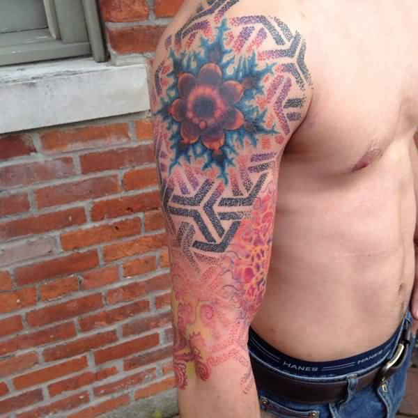 Men Half Sleeve Nice Dotwork Mandelbrot Tattoo