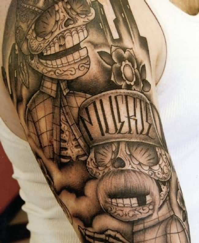 Men Half Sleeve Nice Gangsta Skull Tattoo