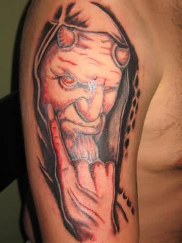 Men Half Sleeve Nice Latino Angry Devil Face Tattoo