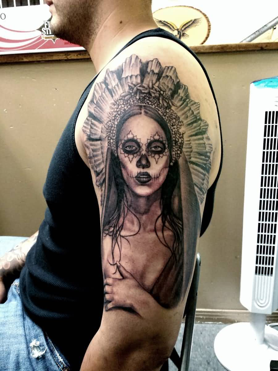 Men Half Sleeve Nice Native Latino Girl Tattoo