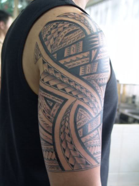 Men Half Sleeve Nice Samoan Tattoo