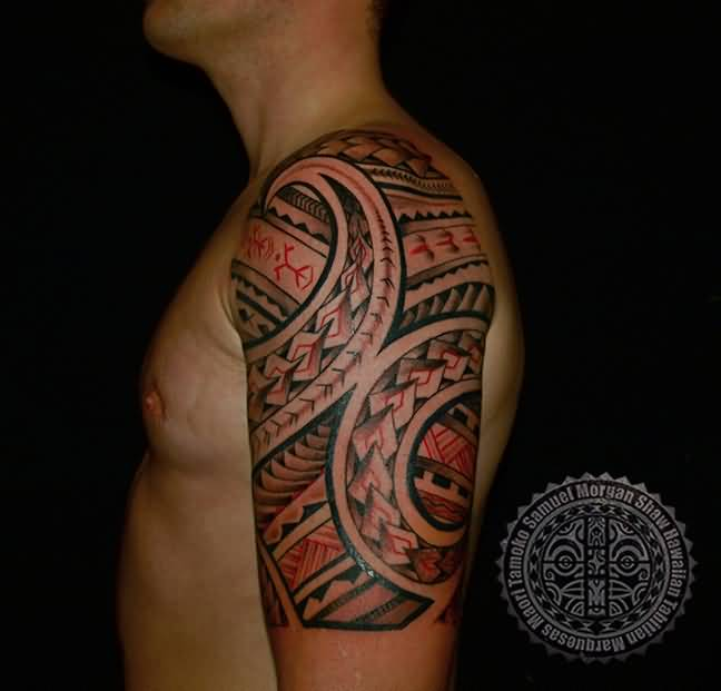 Men Half Sleeve Red And Black Ink Samoan Tattoo