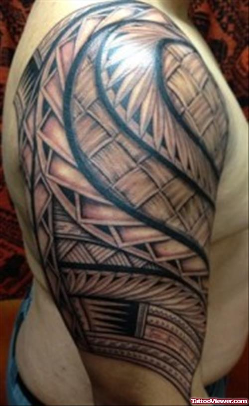 Men Half Sleeve Samoan Tattoo Idea