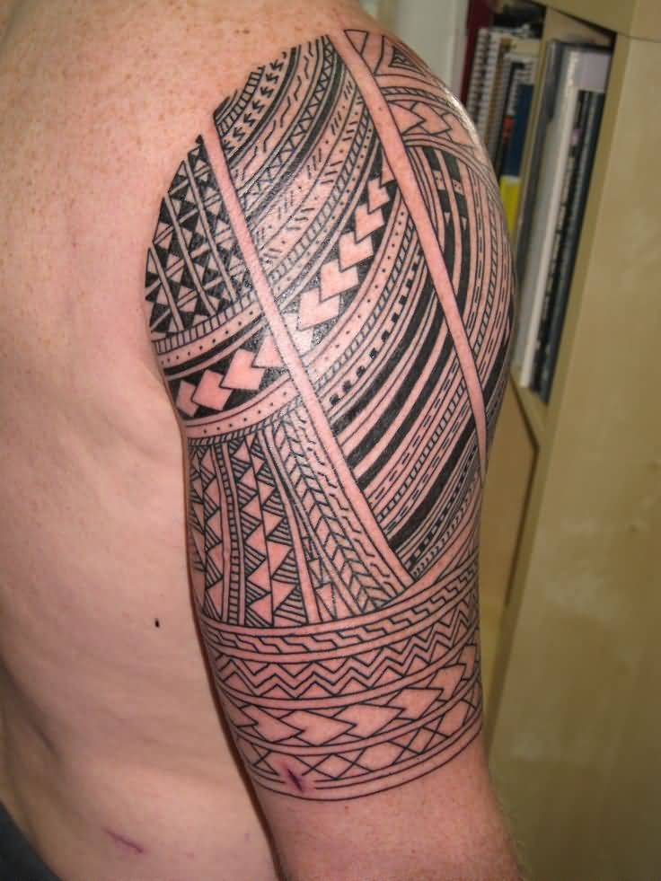 Men Half Sleeve Simple Samoan Tattoo