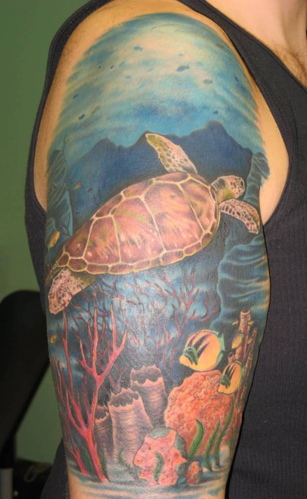 Men Half Sleeve Simple Sea Creature Turtle Tattoo