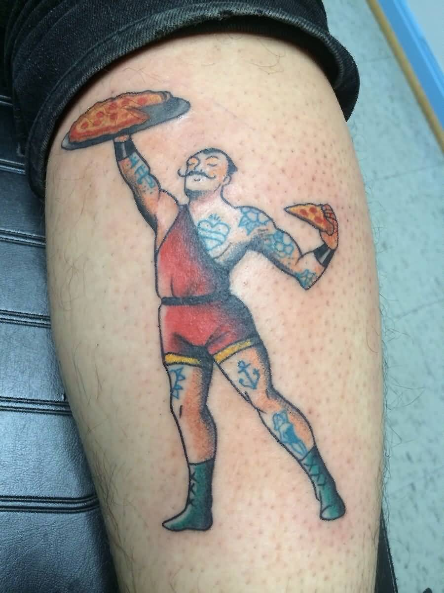 Men Hold Pizza Tattoo