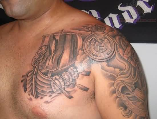 Men Left Shoulder Amazing Real Madrid Logo Tattoo