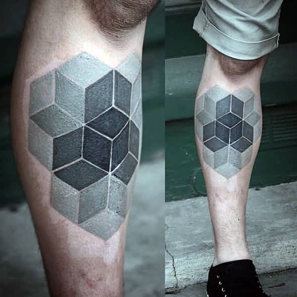 Men Leg Design With Nice Illustion Of Escher Cubes Tattoo