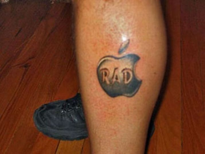 Men Leg Rad Text Apple Logo Tattoo
