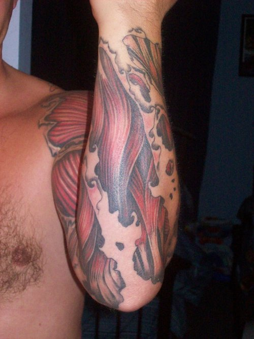 Men Lower Sleeve Amazing Muscles Tattoo Design