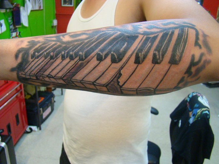 Men Lower Sleeve Nice And Amazing Piano Keys Tattoo Design Idea