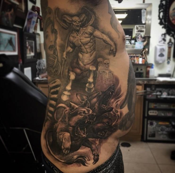 Men Rib Side Cover With Scary Satan Warrior And Dangerous Wolfs Tattoo