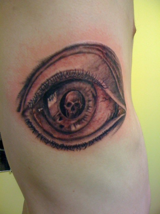Men Rib Side Escher Eye Tattoo