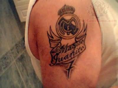 Men Right Shoulder Real Madrid CF Logo Tattoo