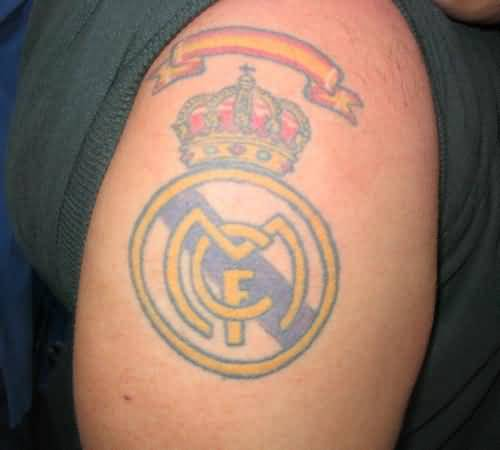 Men Right Shoulder Simple Real Madrid Logo Tattoo