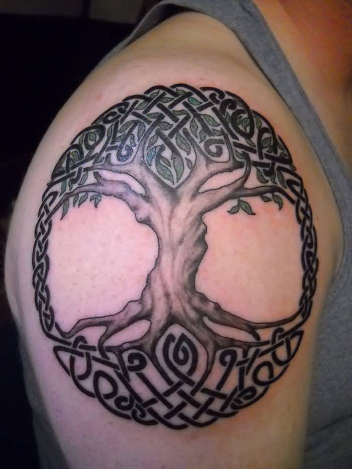 Men Shoulder Amazing Celtic Pegan Tree Tattoo Design Idea
