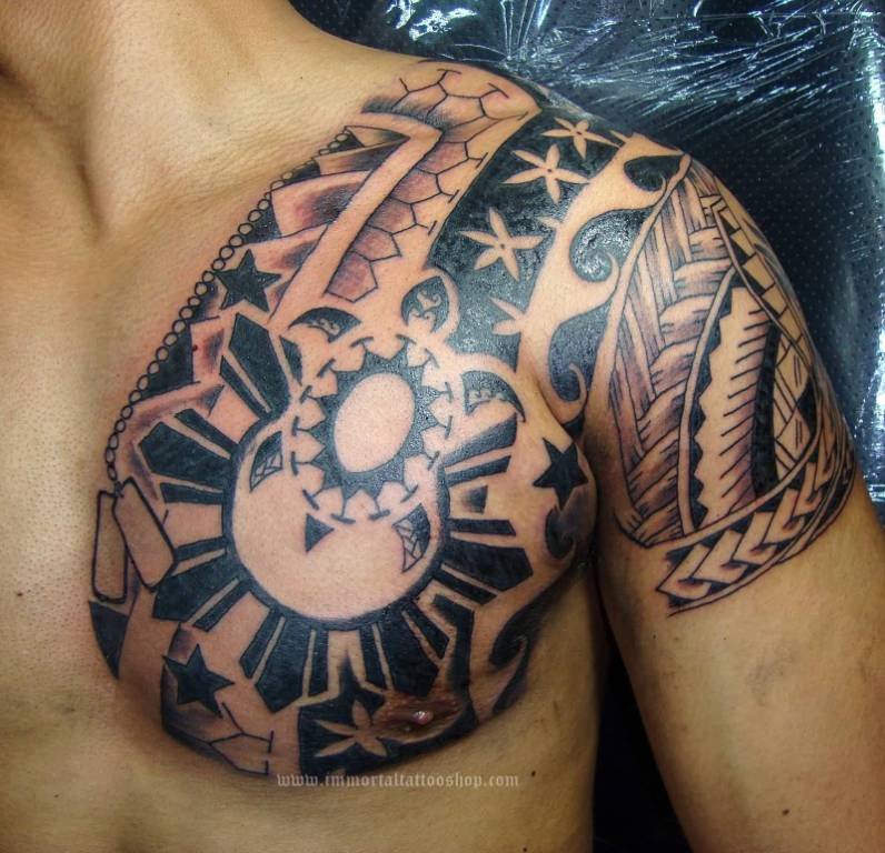 Men Shoulder And Shoulder Nice Filipino Sun And Flower Tattoo