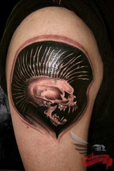 Men Shoulder Angry Punk Skull Tattoo