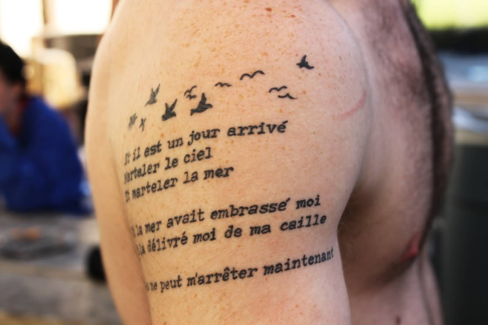 Men Shoulder Armband Poem French Simple Flying Birds Tattoo