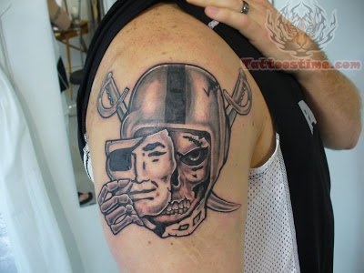 Men Shoulder Nice One Mask And Oakland Raiders Skull Tattoo