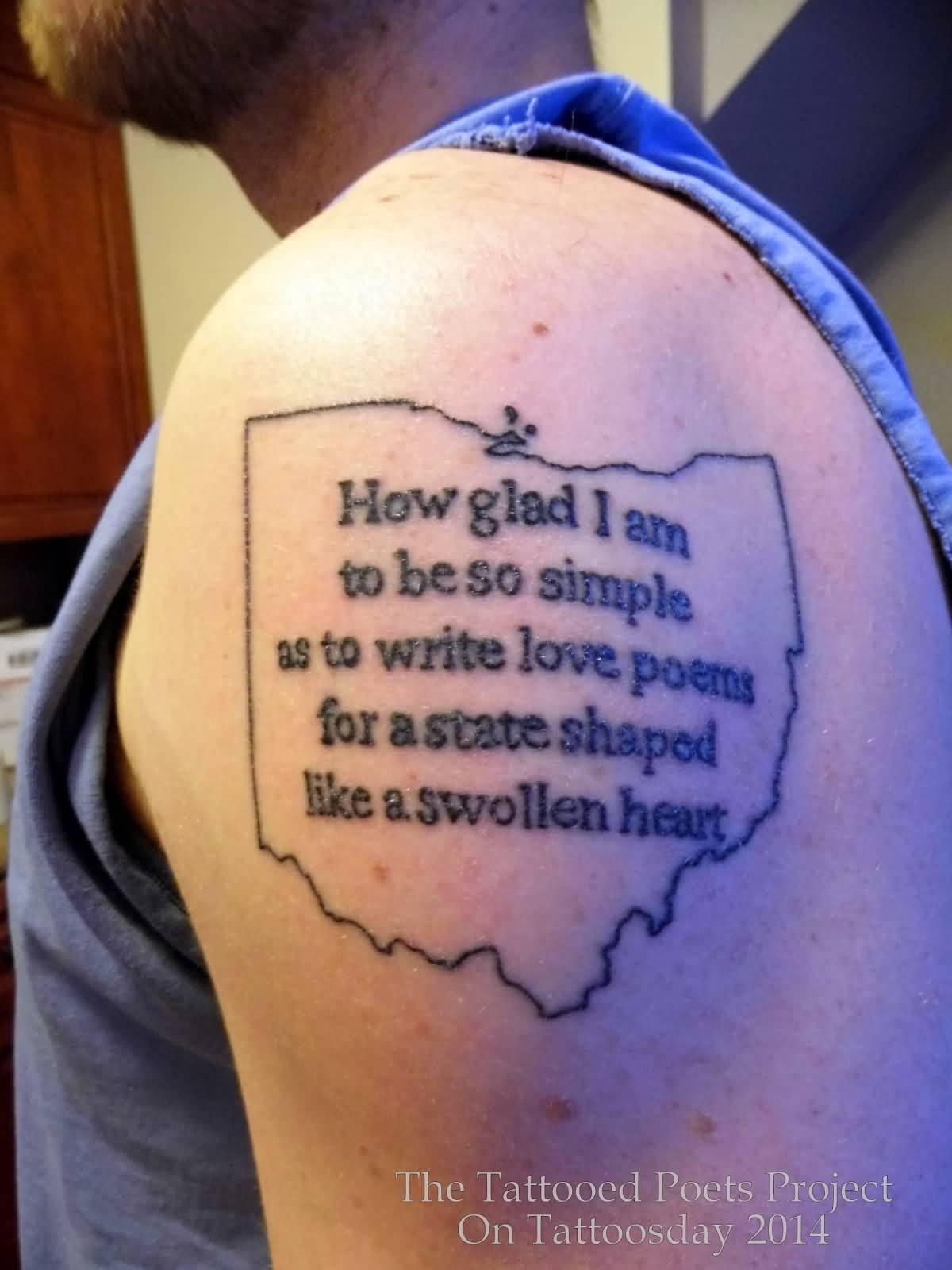 Men Shoulder Nice Poem Text Tattoo Design Idea