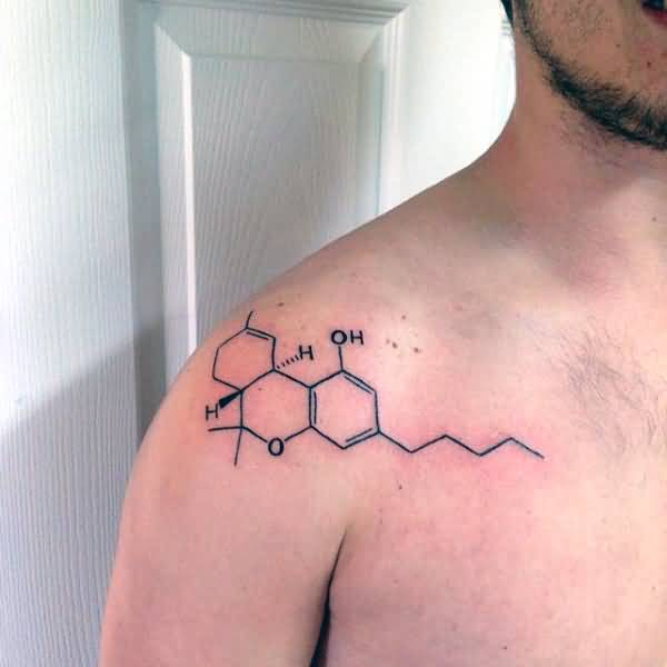 Men Shoulder Nice Science Molecule Tattoo