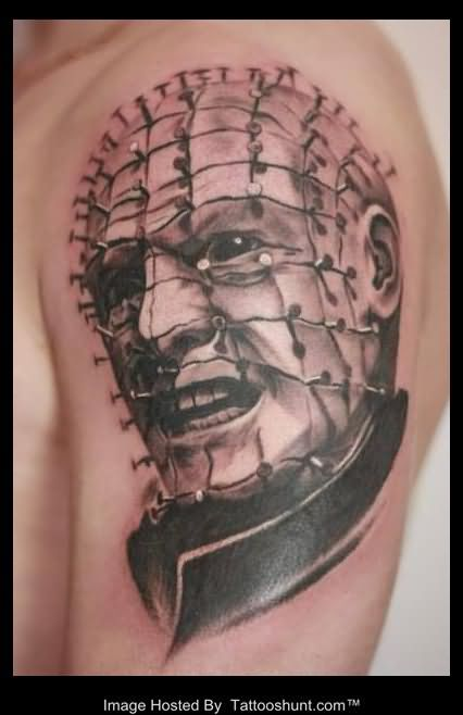 Men Shoulder Pinhead Tattoo Design
