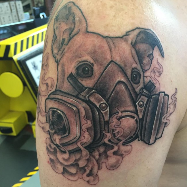 Men Shoulder Pitbull Face Tattoo Design