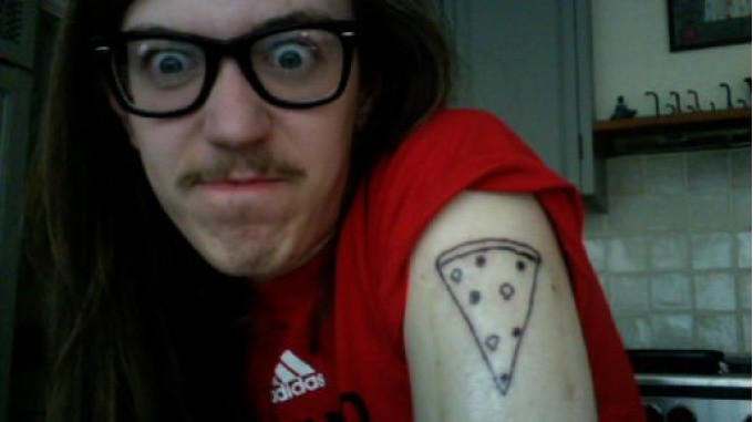 Men Shoulder Pizza Tattoo