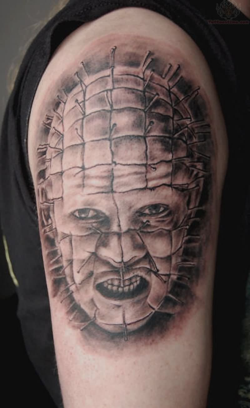 Men Shoulder Simple Grey Ink Nice Pinhead Face Tattoo