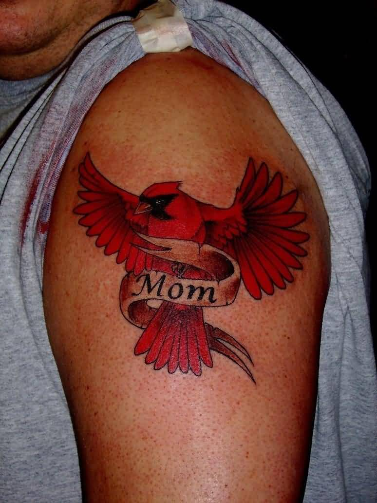 Men Shoulder Sweet Bird Mom Banner Tattoo