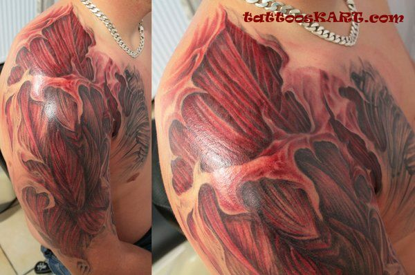 Men Shoulder With Awesome Muscles Tattoo