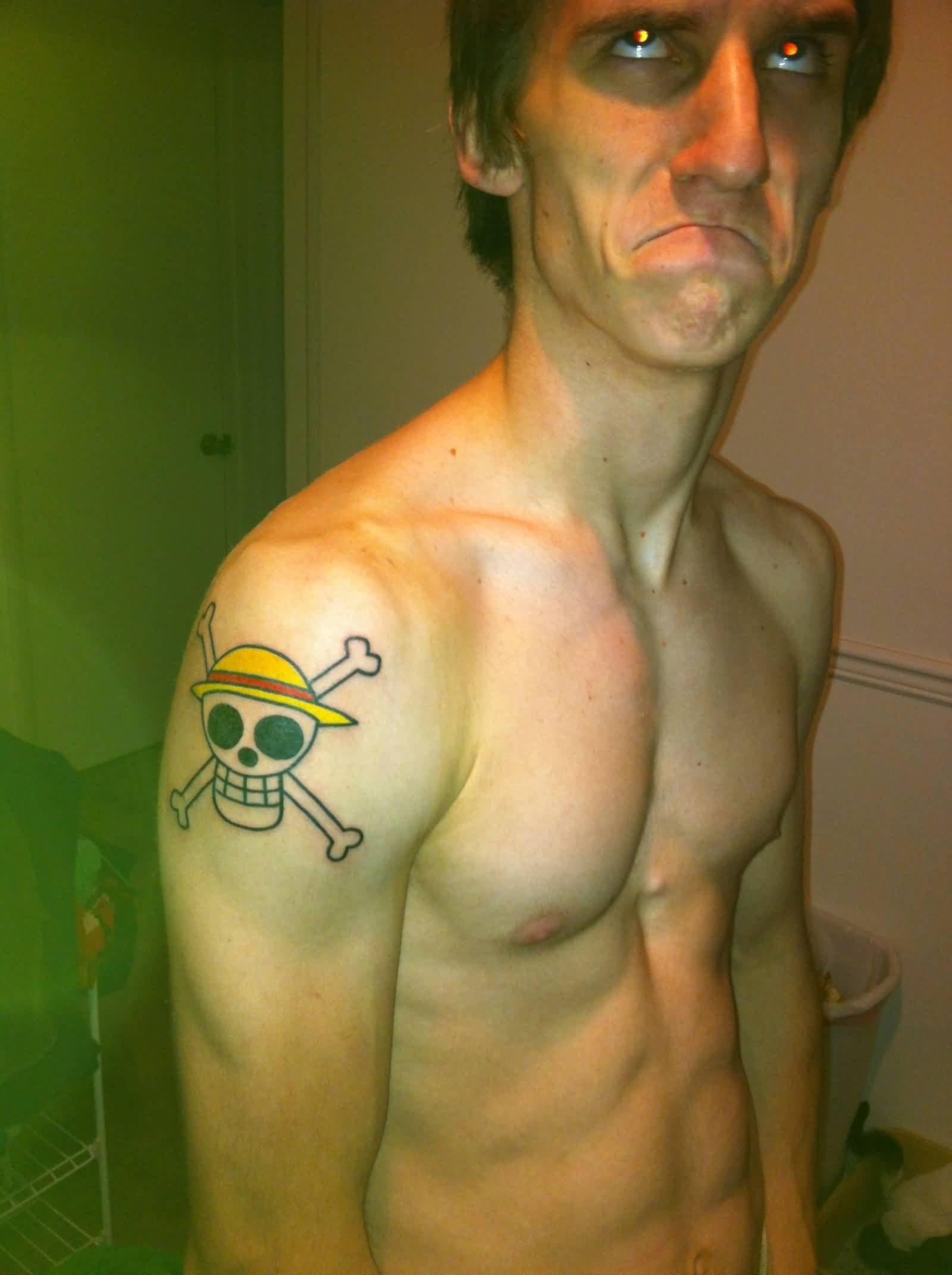 Men Shoulder With Jolly Roger Wear Hat Tattoo