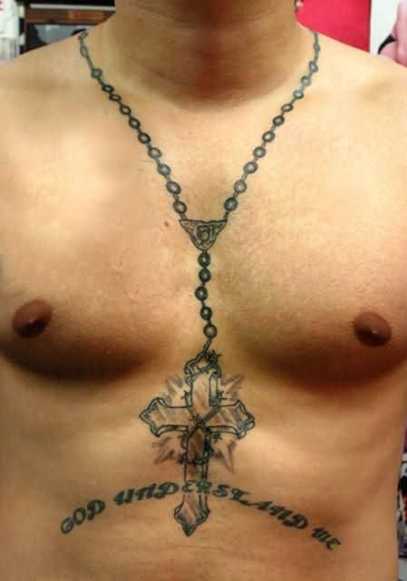 Men Show Big Chain Rosary Cross Necklace With Letters Tattoo