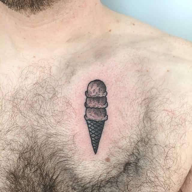 Men Show Chest Side Ice Cream Tattoo