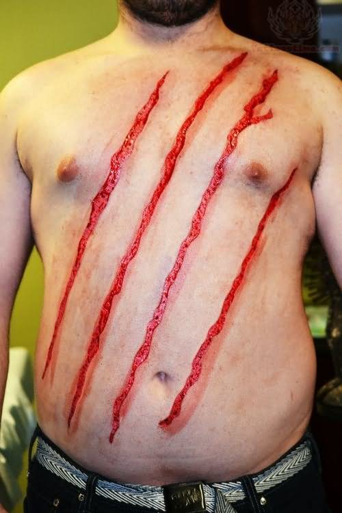 Men Show Front Body Scarification Skin Scratches Tattoo