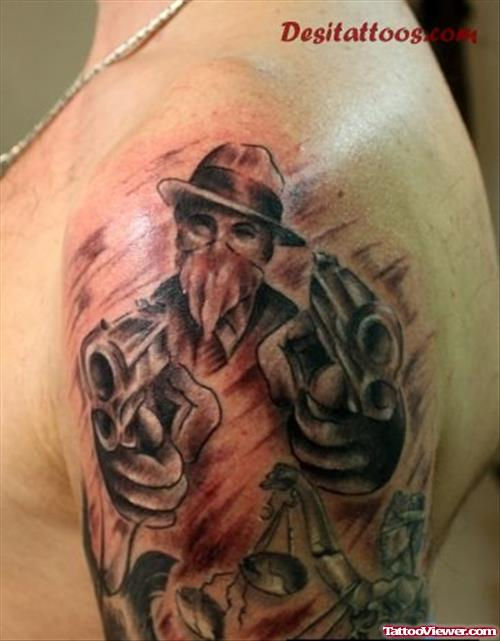 Men Show Half Sleeve Gangsta With Gun Tattoo