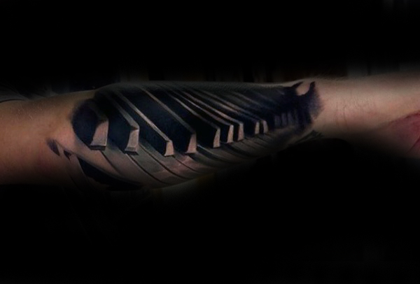 Men Show Her Awesome And Nice Forearm Piano Keys Tattoo