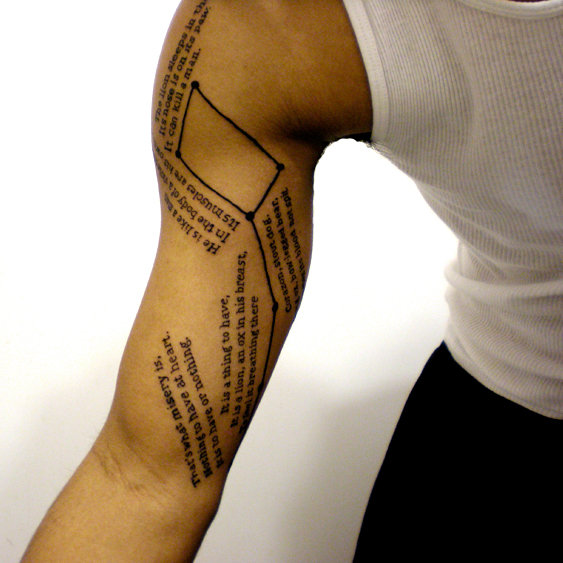 Men Show Her Sleeve Poem Tattoo Design