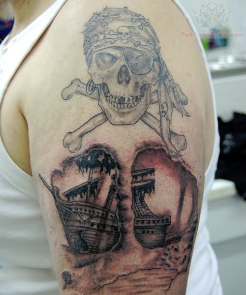 Men Show Jolly Roger Pirate Ship Tattoo With Skull Bones