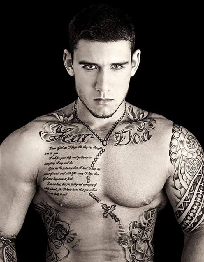 Men Show Latest Quote And Cross Chain Necklace Tattoo