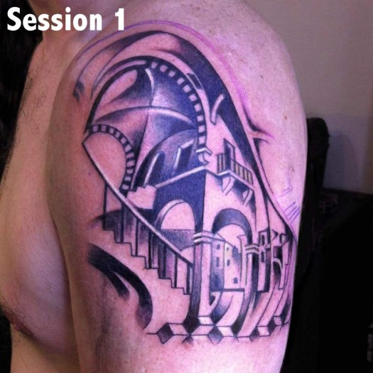 Men Show Nice And Simple Escher Stairs Illustion Tattoo On Shoulder