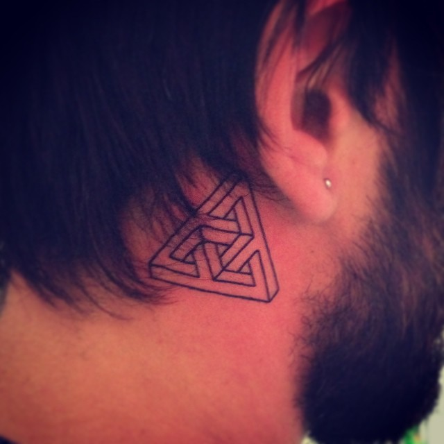 Men Show Nice Escher Triangle Tattoo On Behind Ear