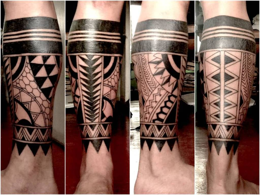 Men Show Nice Filipino Tribal Leg Tattoo