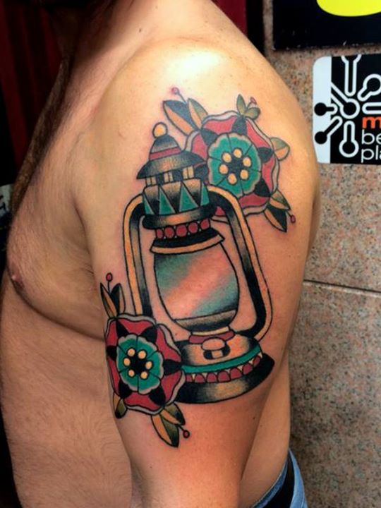 Men Show Nice Lantern With Flower Half Sleeve Tattoo