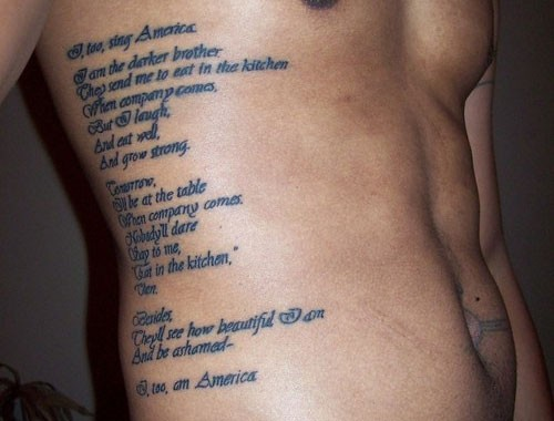Men Show Side Rib Simple Poem Tattoo Design